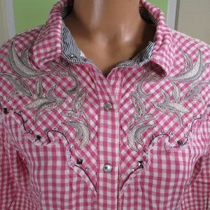 MISS ME WESTERN BLOUSE COTTON PEARL SNAPS LARGE